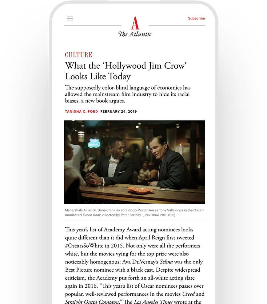 """Tanisha C. Ford's article in The Atlantic, """"What the 'Hollywood Jim Crow' Looks Like Today"""" displayed on a mobile phone"""