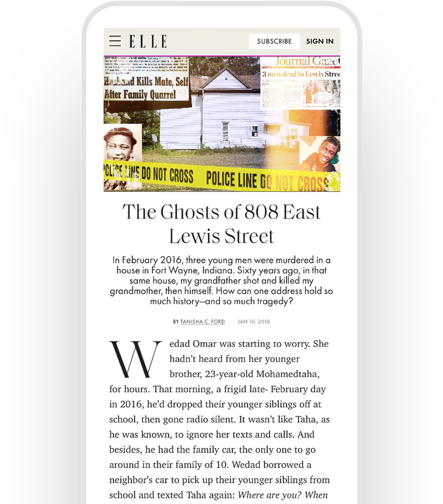 Tanisha C. Ford's article in ELLE, displayed on a mobile phone